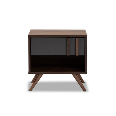 Naoki Modern and Contemporary Two-Tone Grey and Walnut Finished Wood 1-Drawer Nightstand WHI-LV15ST15240-Columbia-Dark-Grey-NS