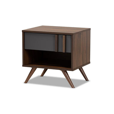 Naoki Modern and Contemporary Two-Tone Grey and Walnut Finished Wood 1-Drawer Nightstand