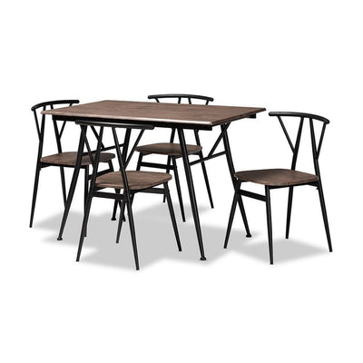 Baxton Studio Ciara Modern and Contemporary Walnut Finished Wood and Black Metal 5-Piece Dining Set