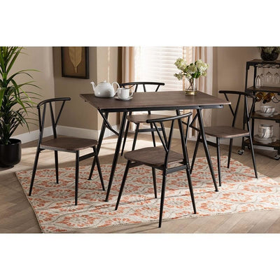 Baxton Studio Ciara Modern and Contemporary Walnut Finished Wood and Black Metal 5-Piece Dining Set WHI-LY-N0285-5PC-Dining-Set