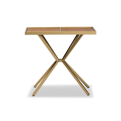 Carlo Modern and Contemporary Walnut Finished Wood and Gold Finished Metal Console Table WHI-LY80-SF-Gold-Console