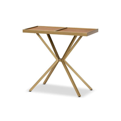 Carlo Modern and Contemporary Walnut Finished Wood and Gold Finished Metal Console Table