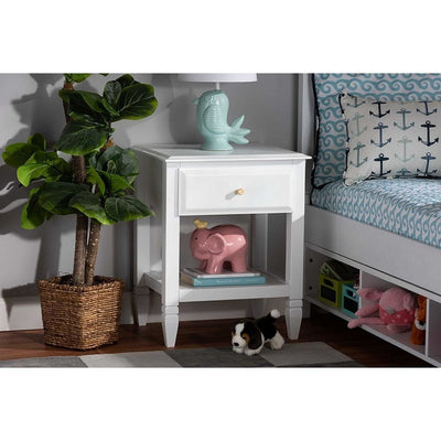 Baxton Studio Naomi Classic and Transitional White Finished Wood 1-Drawer Bedroom Nightstand WHI-MG0038-White-NS