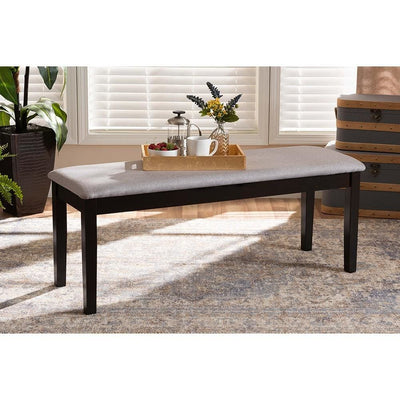 Teresa Modern and Contemporary Transitional Grey Fabric Upholstered and Wood Dining Bench WHI-RH037-Grey-Dark-Brown-Dining-Bench