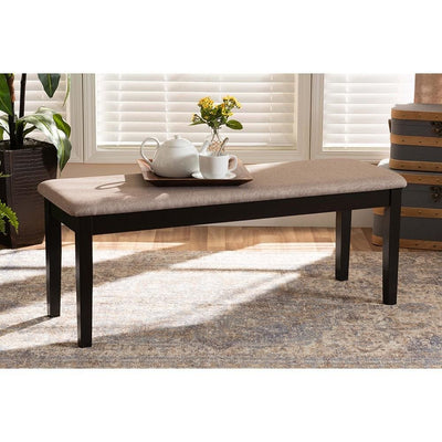 Teresa Modern and Contemporary Transitional Sand Fabric Upholstered and Wood Dining Bench WHI-RH037-Sand-Dark-Brown-Dining-Bench