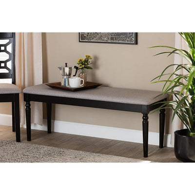 Giovanni Modern and Contemporary Grey Fabric Upholstered and Dark Brown Finished Wood Dining Bench WHI-RH038-Grey-Dark-Brown-Dining-Bench