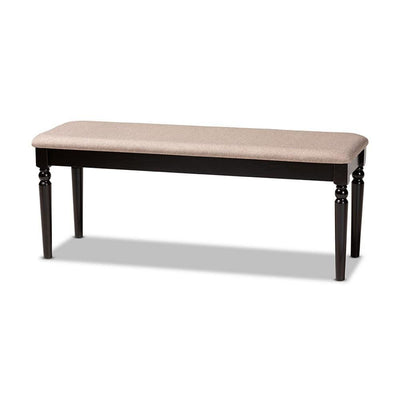 Giovanni Modern and Contemporary Sand Fabric Upholstered and Dark Brown Finished Wood Dining Bench