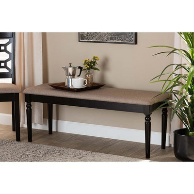 Giovanni Modern and Contemporary Sand Fabric Upholstered and Dark Brown Finished Wood Dining Bench WHI-RH038-Sand-Dark-Brown-Dining-Bench