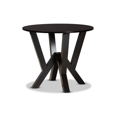 Irene Modern and Contemporary Dark Brown Finished 35-Inch-Wide Round Wood Dining Table
