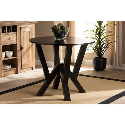 Irene Modern and Contemporary Dark Brown Finished 35-Inch-Wide Round Wood Dining Table WHI-RH7231T-Dark-Brown-35-IN-DT
