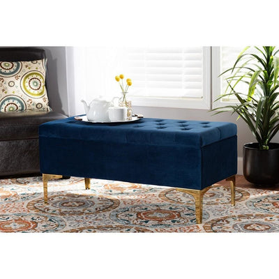 Valere Glam and Luxe Navy Blue Velvet Fabric Upholstered Gold Finished Button Tufted Storage Ottoman