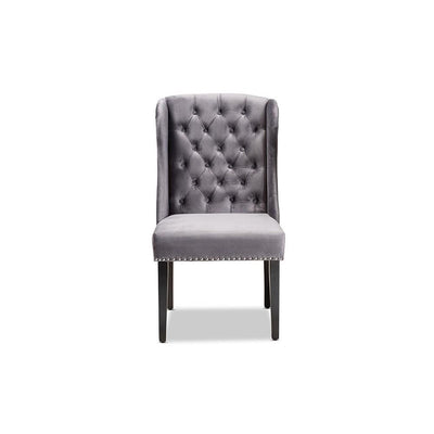 Lamont Modern Contemporary Transitional Grey Velvet Fabric Upholstered & Wood Wingback Dining Chair WHI-WS-W158-Grey-Velvet-Espresso-DC