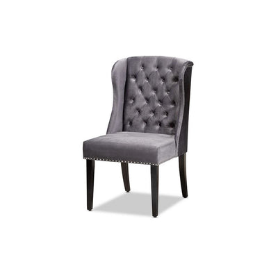 Lamont Modern Contemporary Transitional Grey Velvet Fabric Upholstered & Wood Wingback Dining Chair