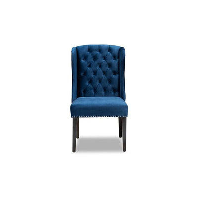 Contemporary Transitional Navy Blue Velvet Fabric Upholstered & Wood Wingback Dining Chair WHI-WS-W158-Navy-Blue-Velvet-Espresso-DC