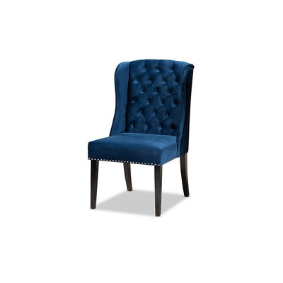 Contemporary Transitional Navy Blue Velvet Fabric Upholstered & Wood Wingback Dining Chair