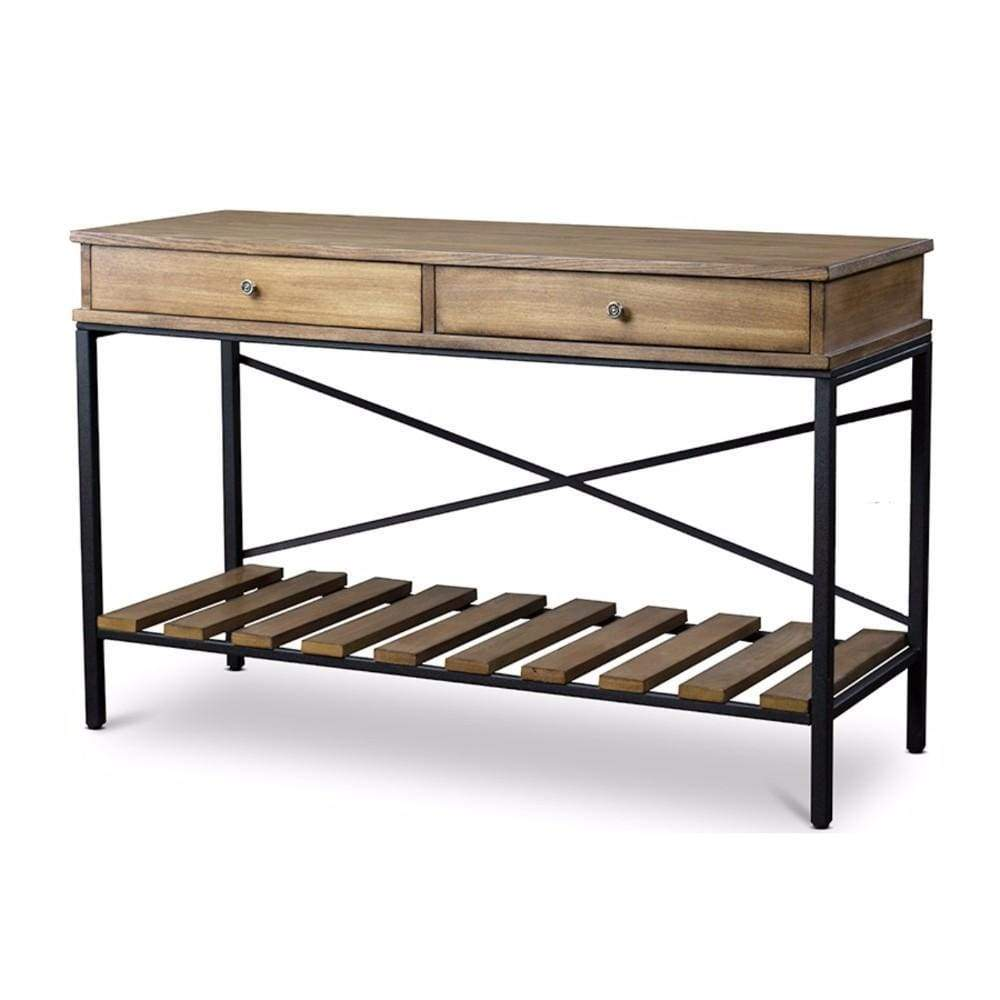 Newcastle Wood and Metal Console Table Criss-Cross By Baxton Studio