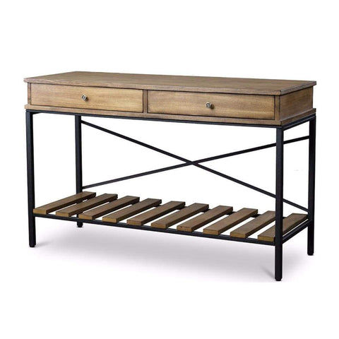 Newcastle Wood and Metal Console Table?Criss-Cross By Baxton Studio