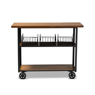 Felix Rustic and Industrial Farmhouse Wood and Metal Console Cart WHI-YLX-0906-011-Console-Cart