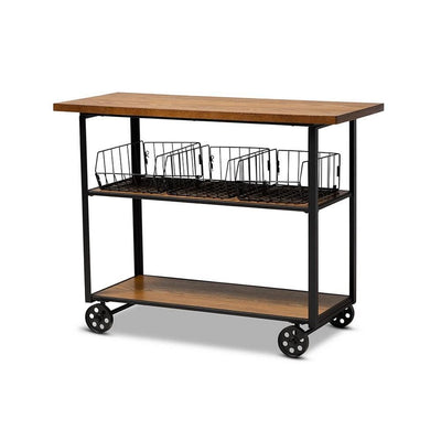 Felix Rustic and Industrial Farmhouse  Wood and Metal Console Cart