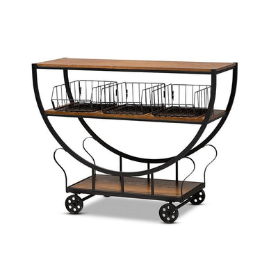 Frieda Rustic and Industrial Farmhouse  Wood and Metal Console Cart