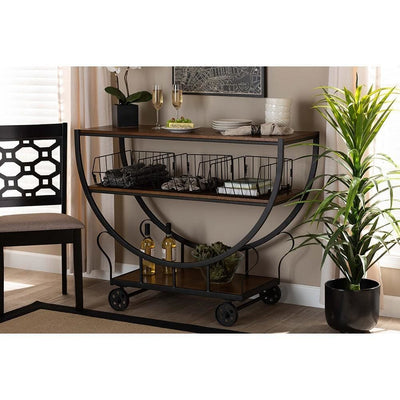 Frieda Rustic and Industrial Farmhouse Wood and Metal Console Cart WHI-YLX-0906-015-Console-Cart