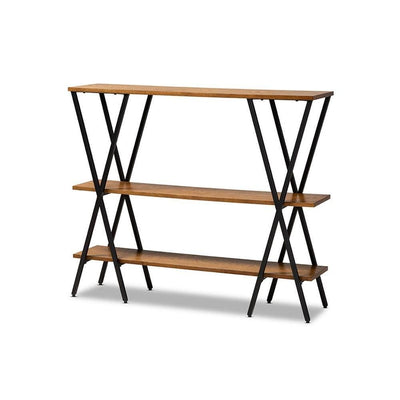 Norton Rustic and Industrial Walnut Brown Finished Wood and Black Finished Metal Console Table