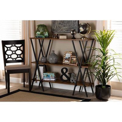 Norton Rustic and Industrial Walnut Brown Finished Wood and Black Finished Metal Console Table WHI-YLX-0906-020-Console