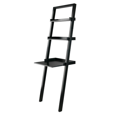 Bellamy Leaning Desk with 2 Shelves, Black By Casagear Home