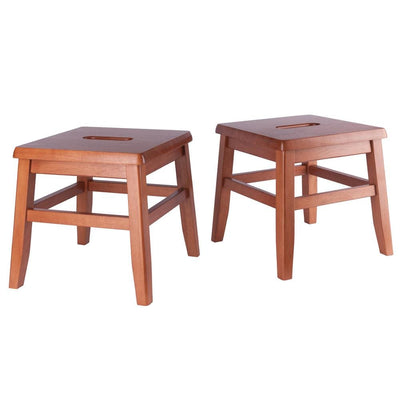 Kaya 2-Pc Conductor Stool Set, Teak By Casagear Home