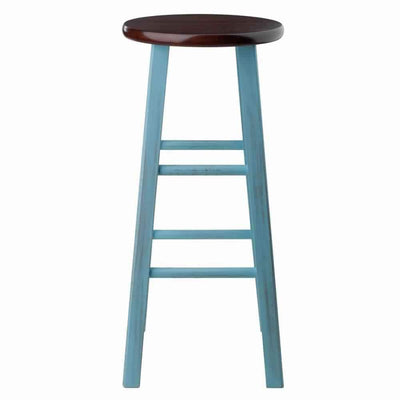 Ivy 29 Bar Stool Rustic Light Blue w/ Walnut Seat WIN-65230
