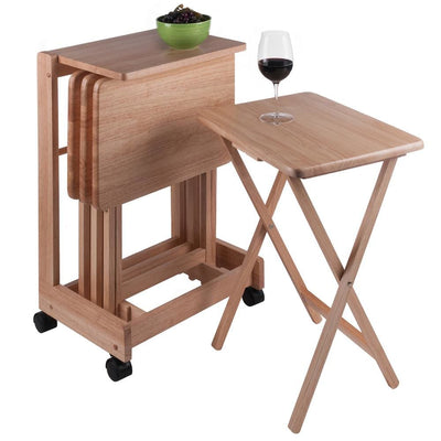 Brienda 5-Pc Snack Table set Serving Cart Natural By Casagear Home WIN-83520