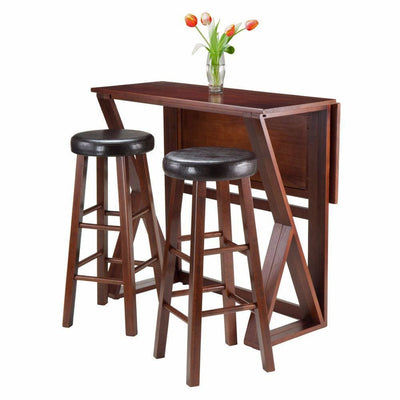 3-Pc Drop Leaf High Table with Cushion Round Seat Stools