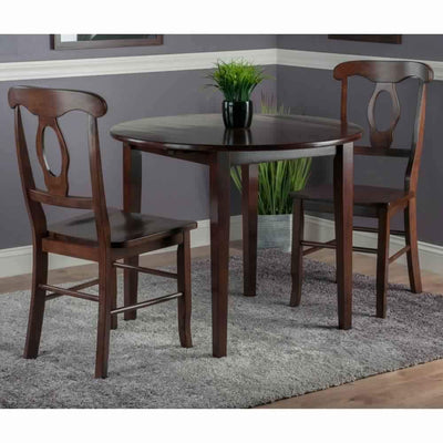 Clayton 3-PC Set Drop Leaf Table with 2 Keyhole Back Chairs