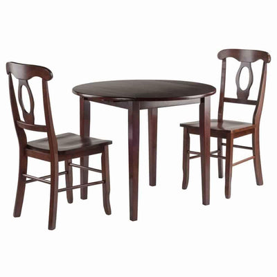 Clayton 3-PC Set Drop Leaf Table with 2 Keyhole Back Chairs WIN-94388