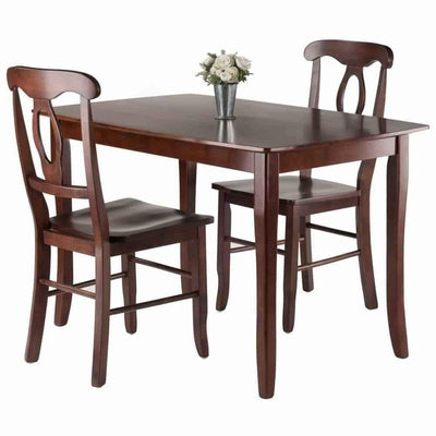 Inglewood 3-PC Set Dining Table w/ 2 Key Hole Back Chairs WIN-94398