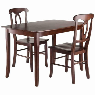 Inglewood 3-PC Set Dining Table w/ 2 Key Hole Back Chairs