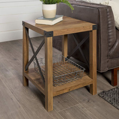 "18"" Metal X Side Table - Rustic Oak"