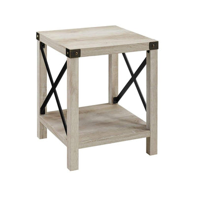 "18"" Metal X Side Table - White Oak"