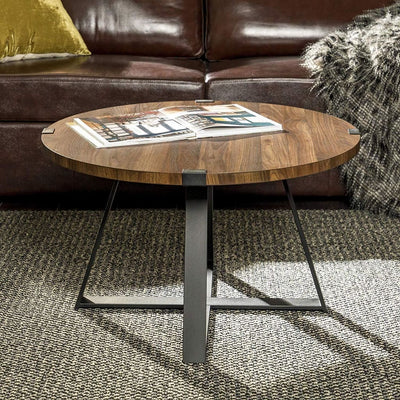 "30"" Metal Wrap Round Coffee Table - Dark Walnut/Black"