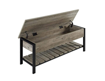 "48"" Open-Top Storage Bench with Shoe Shelf  - Grey Wash"