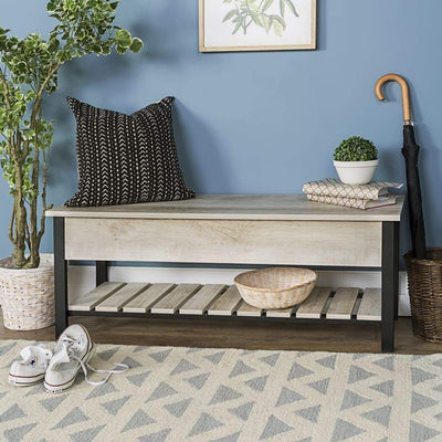 "48"" Open-Top Storage Bench with Shoe Shelf  - White Oak"