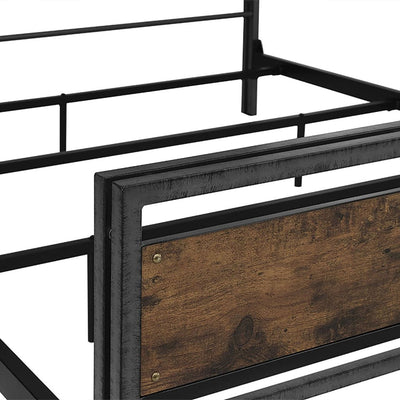 Queen Size Metal and Wood Plank Bed - Brown WLK-BQSLRW