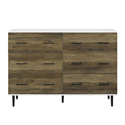 "52"" Reclaimed 6-Drawer Storage - White/Rustic Oak �"