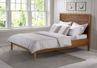 Plank Distressed Solid Wood Queen Bed - Caramel - Box 1
