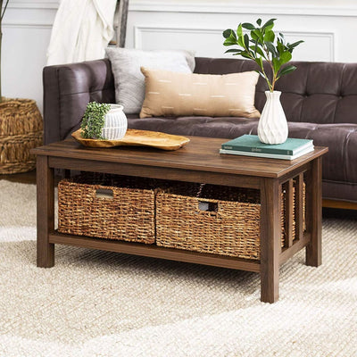 "40"" Wood Storage Coffee Table with Totes - Dark Walnut"