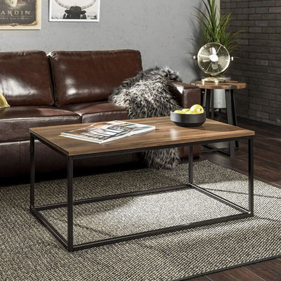"42"" Mixed Material Coffee Table - Dark Walnut"