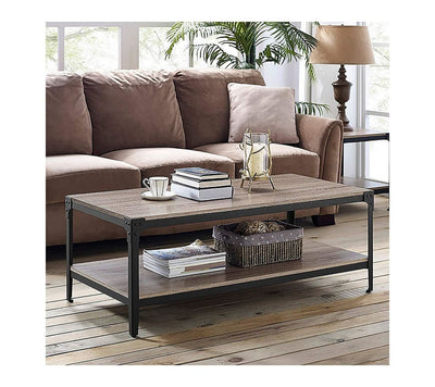 Angle Iron Rustic Wood Coffee Table - Driftwood WLK-C46AICTAG