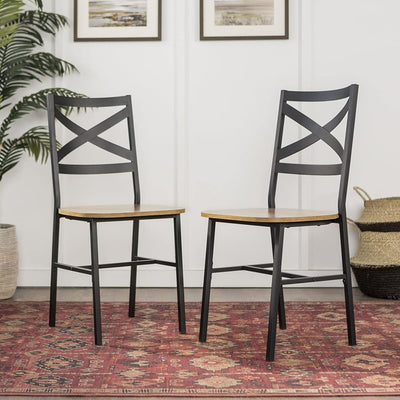 Metal X-Back Wood Dining Chair Set of 2 Barnwood WLK-CH18AI2BW