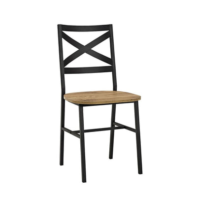 Metal X-Back Wood Dining Chair, Set of 2, Barnwood