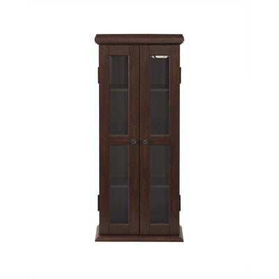"41"" Wood Media Storage Tower Cabinet - Brown"